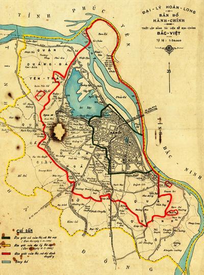 Hà Nội xưa qua một tấm bản đồ cũ. Ảnh: